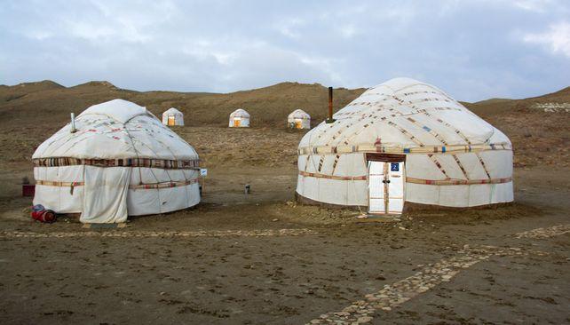 Jurtový kemp neďaleko Aralského jazera